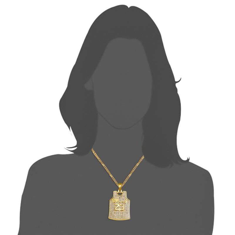 18k Gold Plated Iced Out Necklace Hip Hop Crystal Basketball Legend Number 23 Pendant Necklaces Bling Gold Chain Necklace Lucky Jewelry for Man/Boy Gift