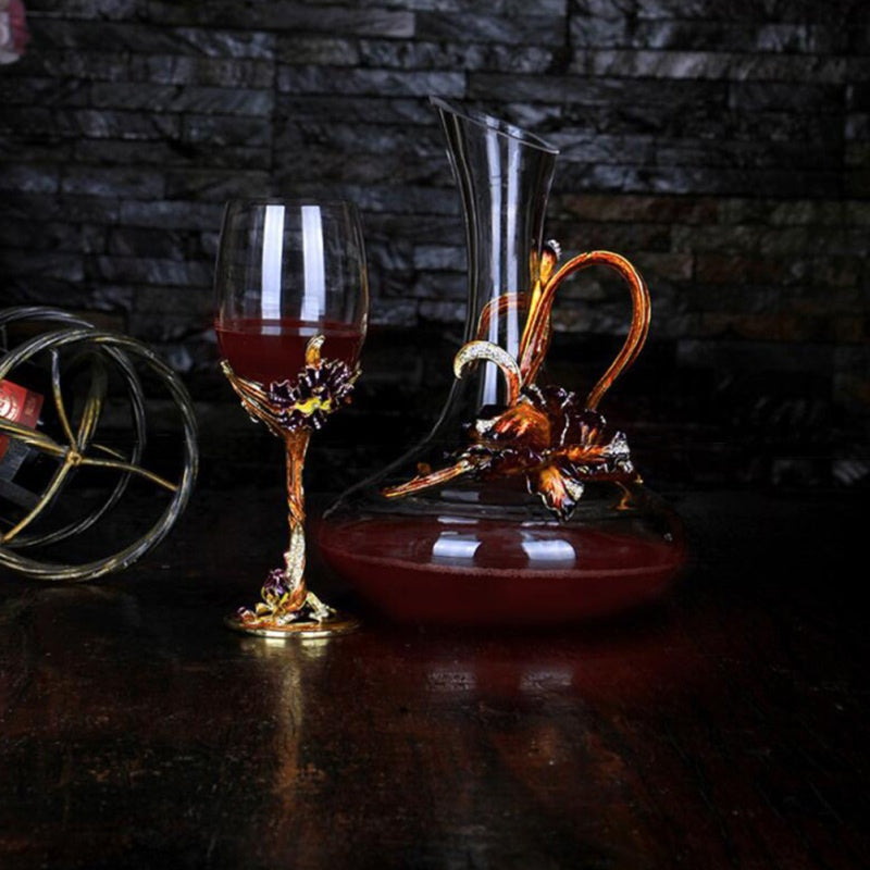 Crystal Enamel Wine Goblet Transparent Red Wine Glass Stem-cup Stemware for Home Bar Party