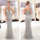 Women's Sexy Sleeveless V-Neck Sequin Prom Dress Wedding Evening Party Maxi Dress