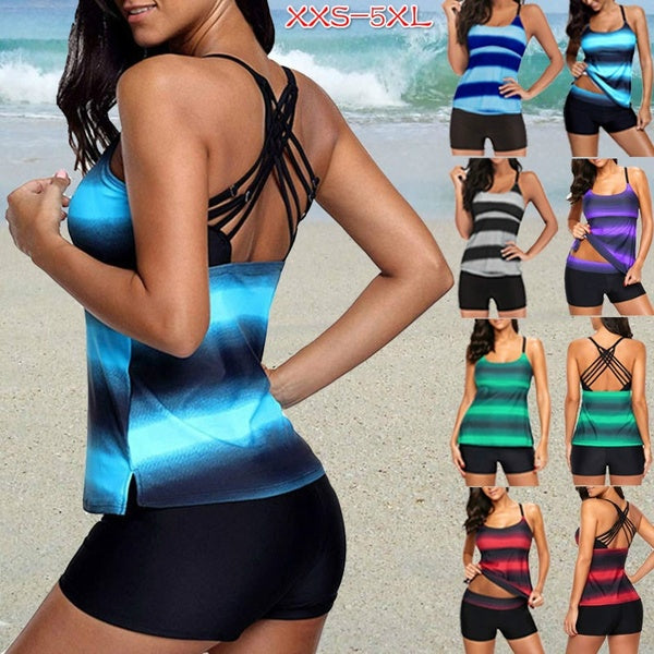 2020 Women Fashion Halter Swimwear Two Pieces Bathing Suit  Block Print Tankini Top  Swimsuit  women beachwear Plus size XS-5XL