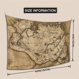 The Old Map in Game Province of Skyrim Wall Hanging The Old Map in Game Province of Skyrim Tapestry Wall Hanging Indian Dorm Decor 40 x 60 Inches