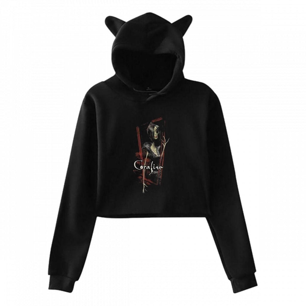 Coraline Other Mother Red Frame  Cat Ear Hoodie Sweater