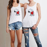 Women Summer Tank Vest Cute Dog Printed Sleeveless Shirt S-3XL