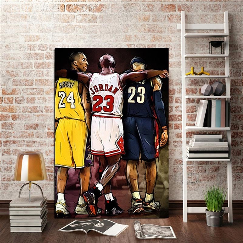 1P HD Printing Modern Home Mural Three Basketball Superstars Painting Mural Art Poster Decoration(No Framed)