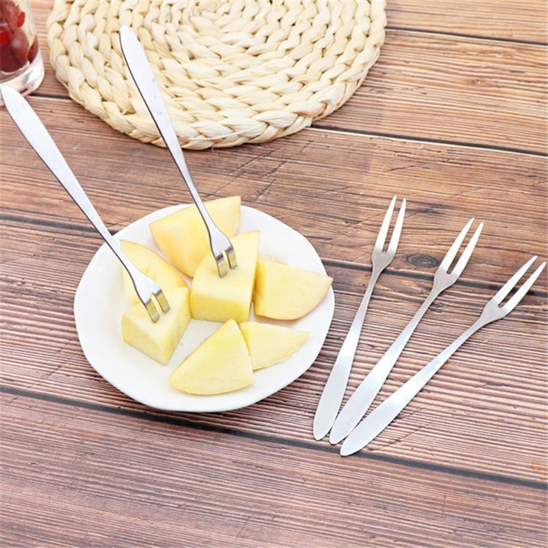 5pcs Creative environmentally friendly stainless steel fruit fork