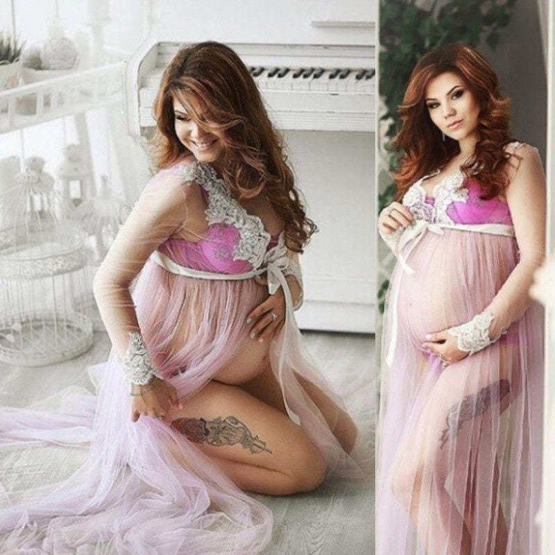 Hot Pregnant Womens Lace Maternity Dress Maxi Gown Photography Photo Shoot Dress