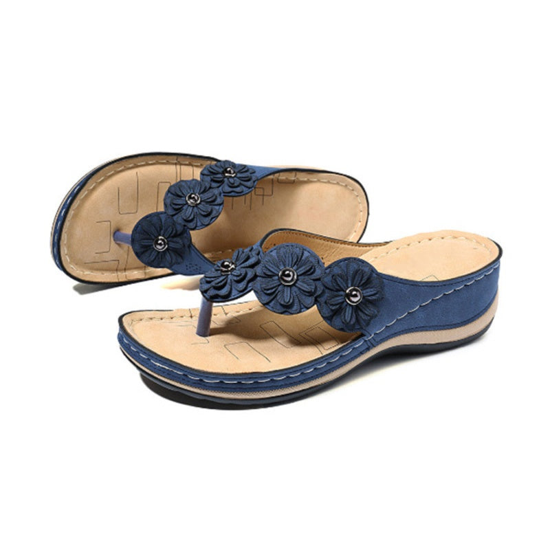NEW Women's Fashion Casual Shoes Summer Flip Flops Flower Flats Sandals Beach Slippers Wedges Open Toe Shoes Ladies Platform Slippers Plus Size 34-43