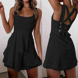 Women Mini Dress Summer Fashion Clothing Solid Color Sleeveless Lace Up Casual Dress Evening Party Dresses S-XL (Vestido)