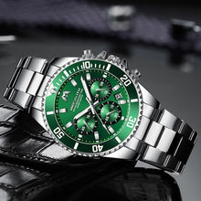 Load image into Gallery viewer, MEGALITH Mens Watches Men Sport Casual Military Chronograph Waterproof Wrist Watch Luxury Full Steel Band Fashion Men Green Dial Large Date Analogue Quartz Watch for Men Business Luminous Clock with Gift Box