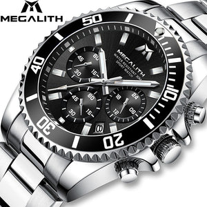 MEGALITH Mens Watches Men Sport Casual Military Chronograph Waterproof Wrist Watch Luxury Full Steel Band Fashion Men Green Dial Large Date Analogue Quartz Watch for Men Business Luminous Clock with Gift Box