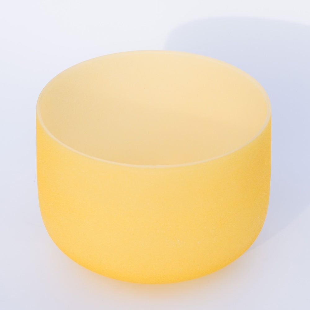 8Inch Note E Solar Plexus Chakra Yellow Color Frosted Quartz Crystal Singing Bowl with Sheepskin Stick