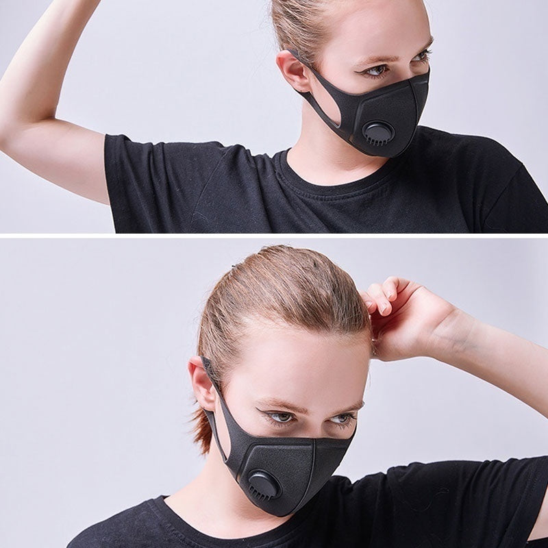 Anti Pollution Mask PM2.5 Air Dust Face Masks Washable and Reusable Mouth Cover Dust Proof Respirator Safety Mask with Breath Valve Made for Men Women Outdoor Activities