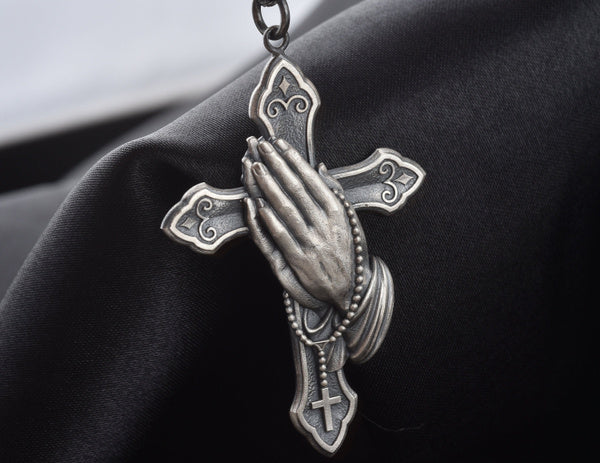 New hands praying cross retro Necklace Euro American Christian 925 Silver Plated Black Pendant