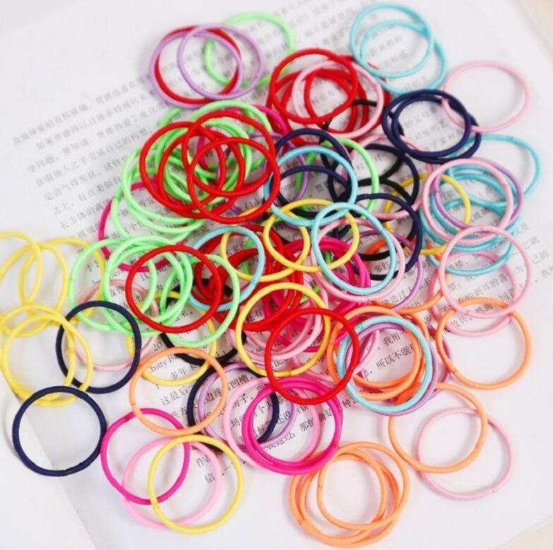 Lot Girls Candy Colors Nylon 3CM Rubber Bands Children Safe Elastic Hair Bands Ponytail Holder Kids Hair Accessories100PCS