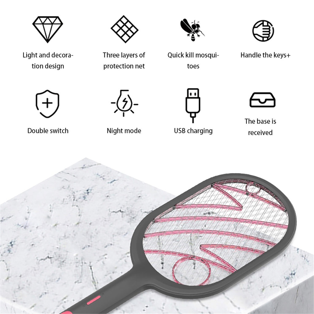 1200mAh 3000V White/Black Rechargeable Electric Cordless Fly Insect Mosquito Swatter Bug Racket For Household Kitchen