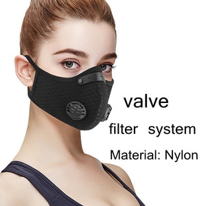 New Upgraded version with valve mask Dust Mesh Mask Activated Carbon Filter Dust Odor Mask Anti-Fog reusable Mask Face Dust Gas Mask