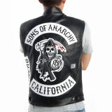 Men SOA Sleeveless Jacket Leather Vest Bomber Motorcycle Waistcoat  Men Jackets Vest