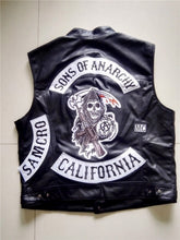 Load image into Gallery viewer, Men SOA Sleeveless Jacket Leather Vest Bomber Motorcycle Waistcoat  Men Jackets Vest