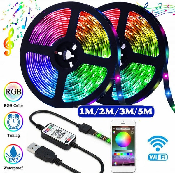 1/2/3/5m 5V USB Power Waterproof  LED Strip Lights, 5050 RGB  LED Tape Lights, Color Changing LED Strip Lights with bluetooth APP Remote for Home Lighting Kitchen Bed Flexible Strip Lights for Bar Home Decoration,Lumi¨¨res LED,LED Lichter,Luces led