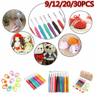 9/12/20/30PCS Set Sewing Tools Set DIY Crochet Hooks Knit Weave Craft Sweater Sewing Needles Set Knitting Needle 2.0mm-8.0mm
