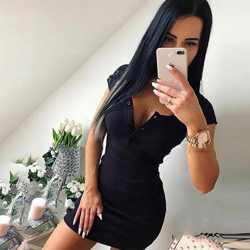 Women Fashion Casual Short Sleeve Dress Pure Color Sexy V-neck Mini Dress Package Hip Bodycon Dress Spring Summer