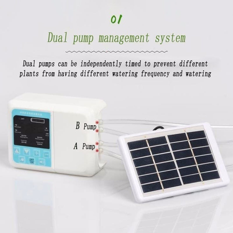 [Dual/Single Pump] Solar Energy 18650mAh Intelligent Garden Automatic Self-Watering Device 10m Tube Potted Plant Drip Irrigation Water Pump Timer System