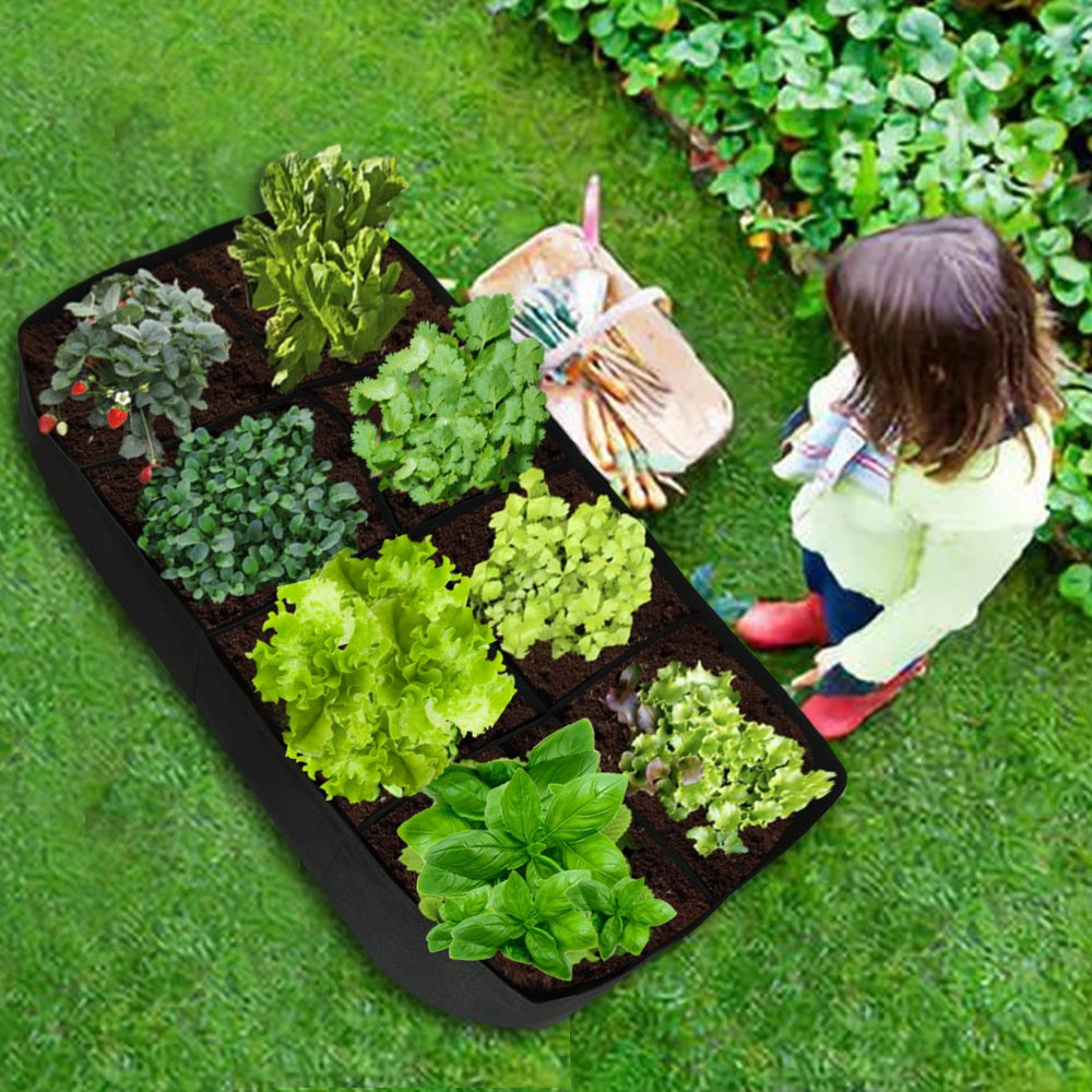 1/2PCS Plant Bed Garden Flower Planter Elevated Vegetable Box Planting Grow Bag Fabric Rectangle Breathable Container Pot