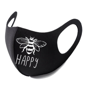 Bee Happy Letter Print Cute Protective Mask Casual Cotton Stretchy Dust-proof Anti-spray Isolation Mask Fashion Sport Cycling Mask Health Care