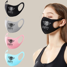 Load image into Gallery viewer, Bee Happy Letter Print Cute Protective Mask Casual Cotton Stretchy Dust-proof Anti-spray Isolation Mask Fashion Sport Cycling Mask Health Care