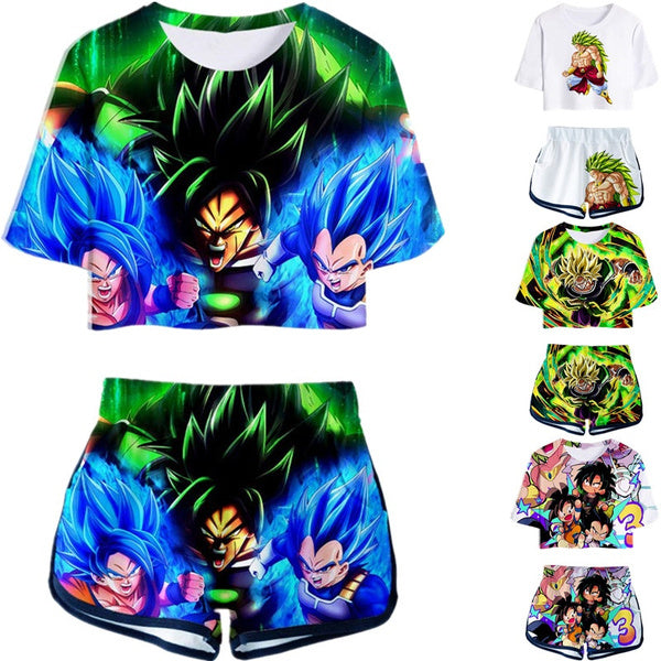 New fashion 3D printing anime Dragon Ball top T-shirt and shorts clothes two-piece women's sportswear
