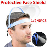 1/2/5 PCS Transparent Anti Droplet Dust-proof Protect Full Face Covering Mask Visor Shield Saliva - Windproof Face Shield