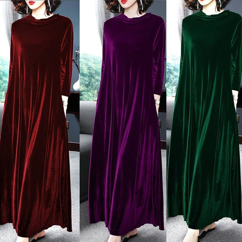 2020 Women's Fashion Vintage Gold Velvet Long Sleeve Dress Round Neck Solid Color Casual Plus Size Maxi Loose Dress