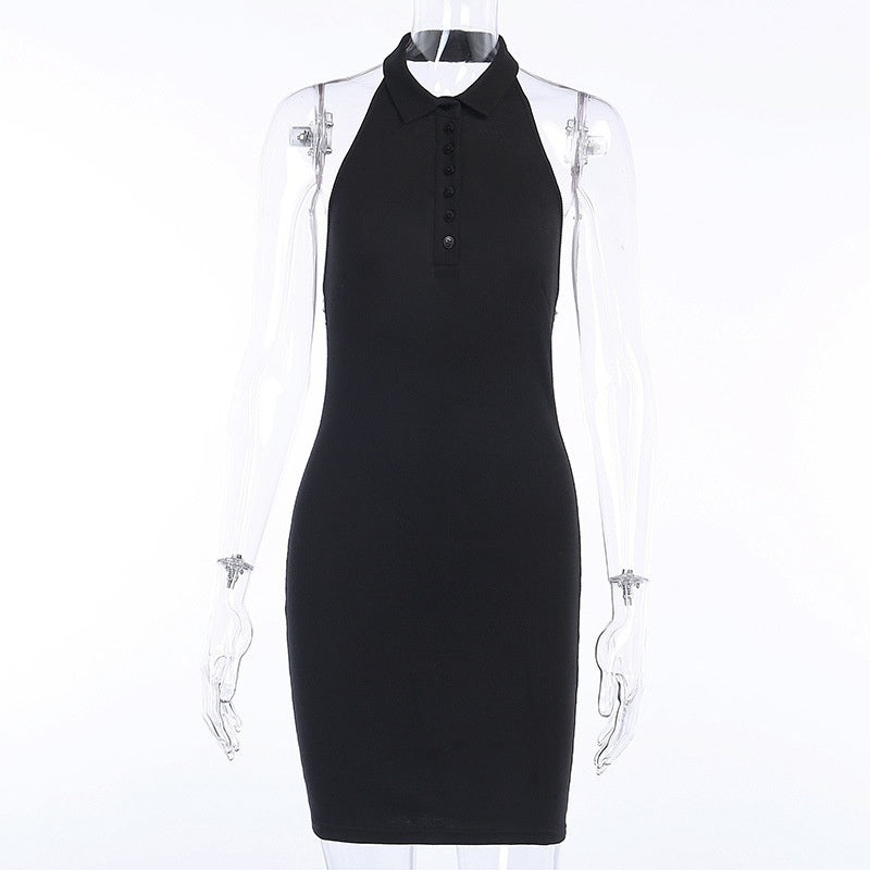 Women Summer V-neck Front Button Decorate Turn-Down Collar Package Hip Halter Dress Fashion Vestido