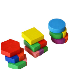 Load image into Gallery viewer, Kids Baby Wooden Geometry Building Puzzle Early Learning Educational Toy Puzzle Kids Toys Baby Geometric Model Building