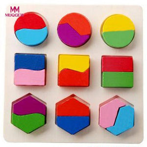 Kids Baby Wooden Geometry Building Puzzle Early Learning Educational Toy Puzzle Kids Toys Baby Geometric Model Building