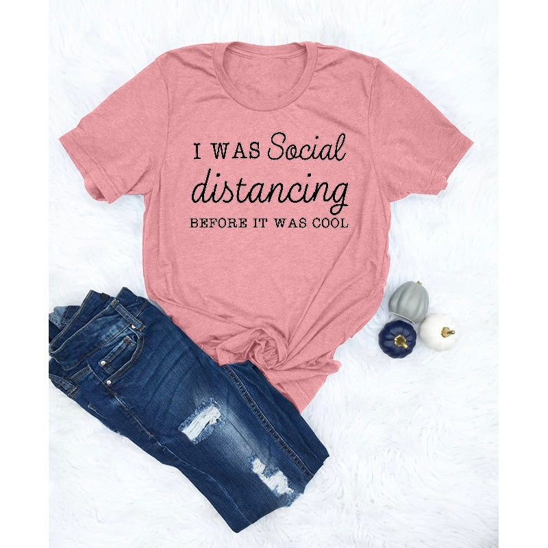 Social Distancing Shirts Women Summer Short Sleeve Casual Tops Plus Size Loose T Shirts