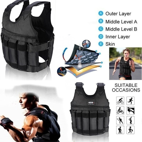 3-50 kg Durable Loading Weighted Vest Adjustable Weight Training Exercise Waistcoat Healty & Sports Supply