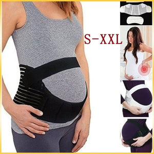 Pregnant Women Belly Belt Prenatal Care Athletic Bandage Girdle Pregnancy Maternity Support Belt (White/Black)(S-2XL)