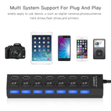 High Quality 7 Ports / 4 Port LED USB 2.0 Adapter Hub Power on / off Switch For PC Laptop Computer