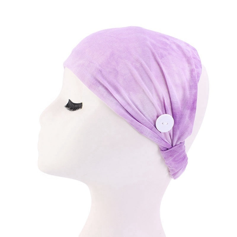 Sports Wide Women Wrap Hairband Stretch Elastic Turban Running Headband  With Button Anti-Tightening Mask Holder Hairband