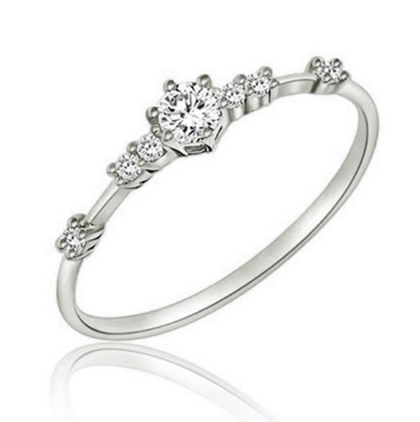 Exquisite 14K Gold 7 Tiny Diamond Pieces of Exquisite Small Fresh Style Ladies Engagement Ring Jewelry