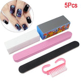 5Pcs/Set Nail Buffer File Block Set Salon Polish Sanding Pedicure Manicure Tools