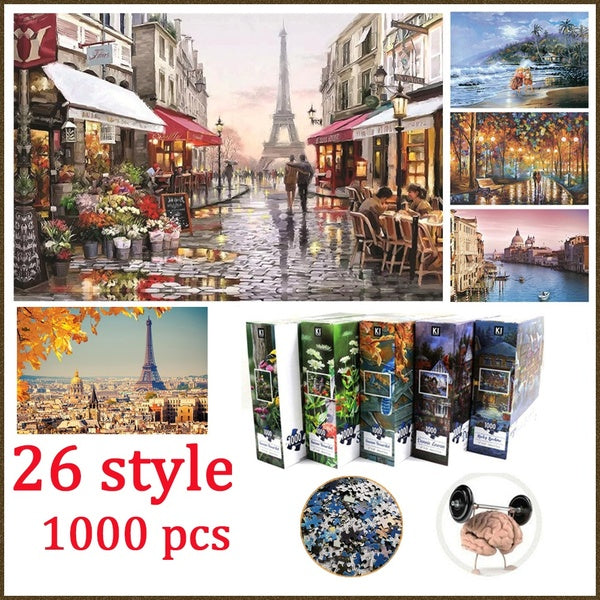 26 pcs  Adults Jigsaw Puzzle 1000 Pieces Education and Learning Puzzles Toys for Children Kids Gift