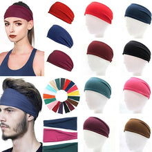 Load image into Gallery viewer, Men Women Wide Headband Sweatband Stretch Sweat Elastic Sports Yoga Hairband