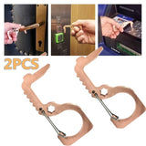 2PCS Hygiene Hand Antimicrobial Brass Edc Door Opener Portable Press Elevator Tool Door Handle Keychain