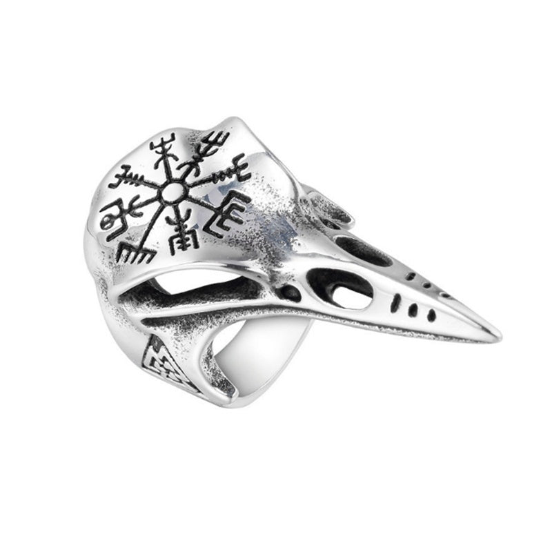 Vintage Nordic Viking 316L Stainless Steel Men's Odin's Crow Skull Ring Engraved with Vegvisir & Valknut Viking Symbol Ring Punk Men's Viking Amulet Jewelry