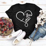 Summer Fashion Women  T-shirts Faith Letter Printed  Christian Shirts Short Sleeves O-neck Jesus Faith Shirts Religious Church Tops Plus Size XS-5XL