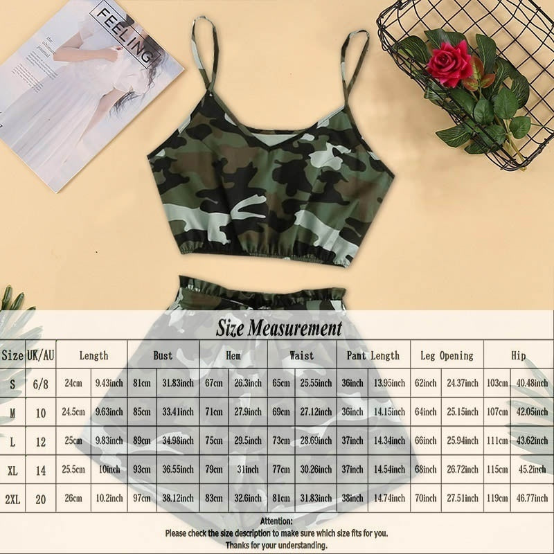 2020 New Fashion Women Camouflage Crop Tank Tops +Bowknot Bandage Elastic Shorts Sets Casual Summer Shorts Women Sleepwear Loungewear Sets