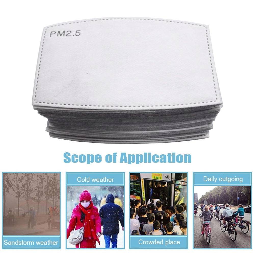 100/50/10PCS 6 Layers PM2.5 Activated Carbon Filter Replaceable Anti Haze Filter Paper for Mask for adult Child