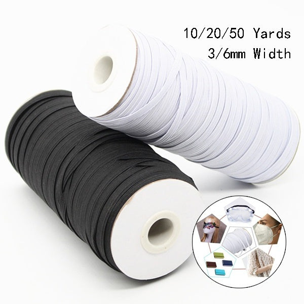 3/6mm Width White Black High Elastic Sewing Elastic Band Elastic Spandex Band Edge Sewing Fabric DIY Mask Clothing Accessories